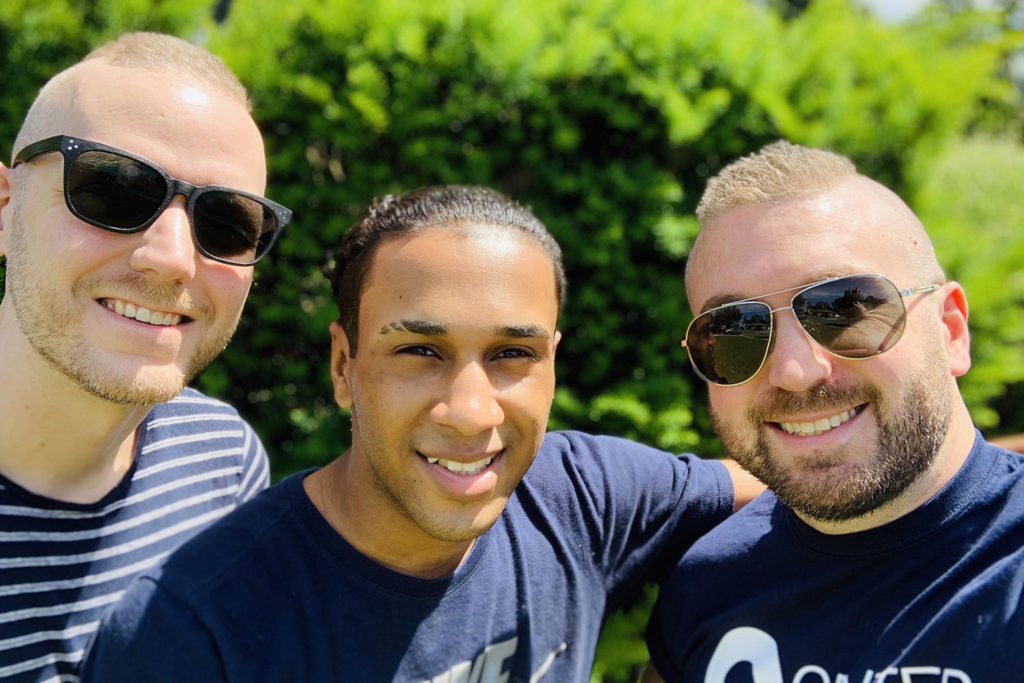 Gay dads in Long Island and Queens: Mark Mihopulos (on the right) with his husband and their son